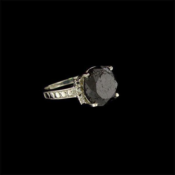 APP: 5.1k 4.91CT Rare Black Diamond & Sterling Ring