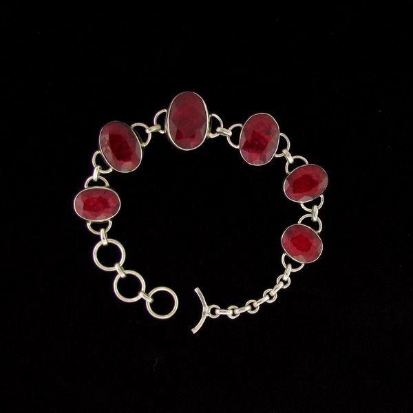 APP: 52.8k 57.31CT Ruby & Sterling Silver Bracelet