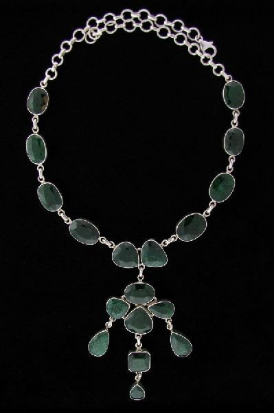 APP: 129k 114.16CT Emerald & Sterling Silver Necklace