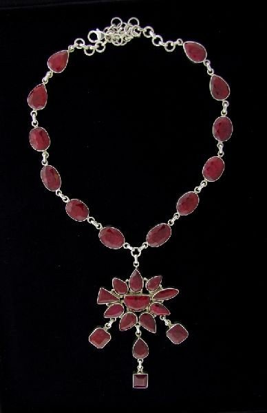 APP: 153.1k 135.59CT Ruby & Sterling Silver Necklace