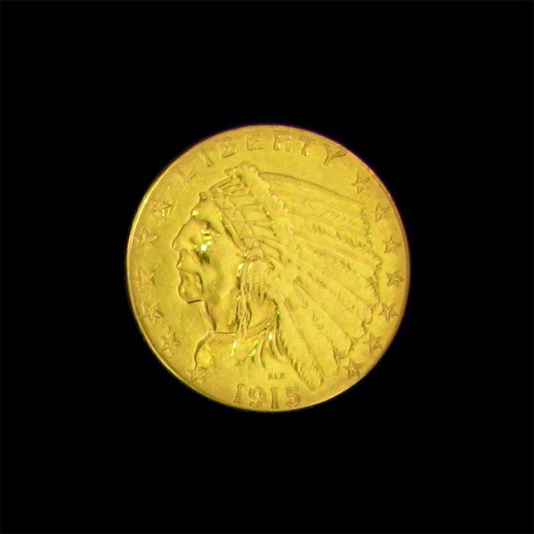 1915 $2.5 U.S. Indian Head Gold Coin - Investment