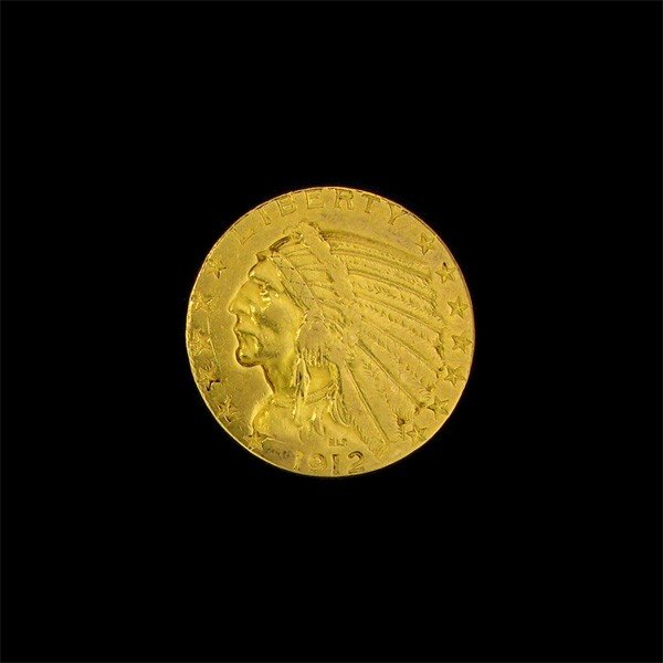 1912 $5 U.S. Indian Head Gold Coin - Investment