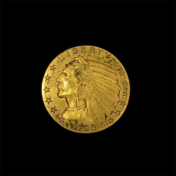 1908 $5 U.S. Indian Head Gold Coin - Investment