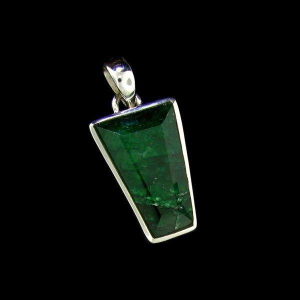 APP: 14.5k 17.06CT Emerald & Sterling Silver Pendant