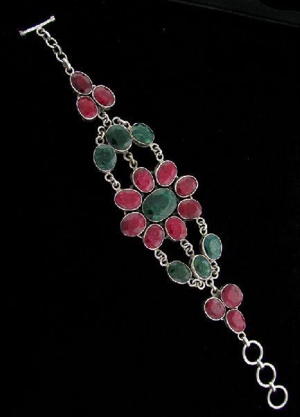 APP: 86.3k 102.07CT Ruby & Emerald Sterling Silver Brac
