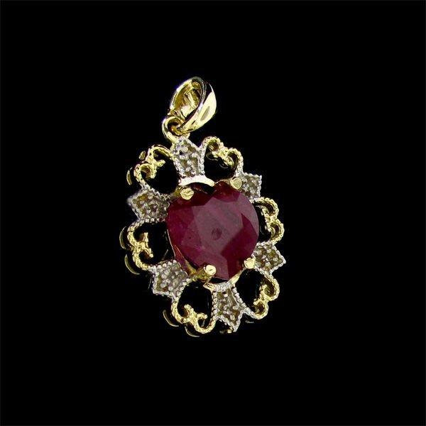 APP: 14.5k 14 kt. Gold, 7.98CT Ruby & Diamond Pendant