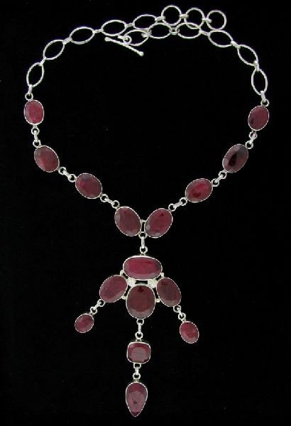 APP: 152.5k 187.01CT Ruby & Sterling Silver Necklace