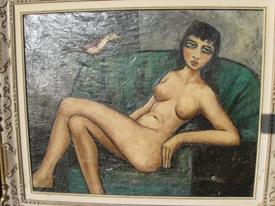 Kees Van Dongen Oil on Canvas-Woman on Green Couch