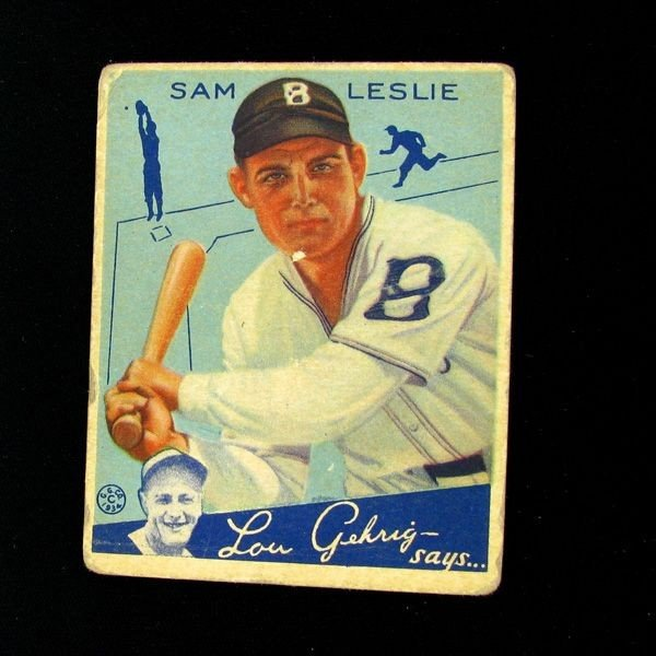Sam Leslie #49 BP $25-$160 Goudey Baseball Card
