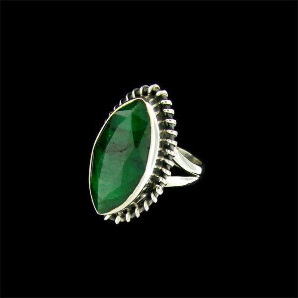 APP: 9.1k 10.45CT Emerald & Sterling Silver Ring