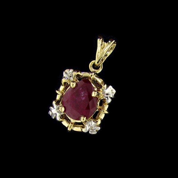 APP: 10k 14 kt. Gold, 5.26CT Ruby & Diamond Pendant