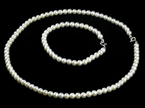 Silver Clasp 5mm Pearl 16'' Necklace & 6'' Bracelet Set