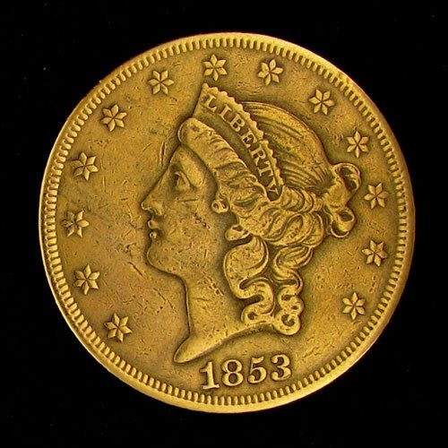 1853 $20 U.S. Gold Liberty Coin - Investment