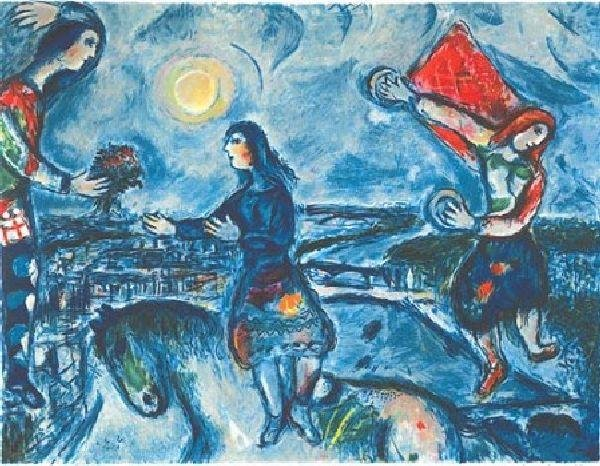 MARC CHAGALL Lovers Over Paris Print, Limited Edition