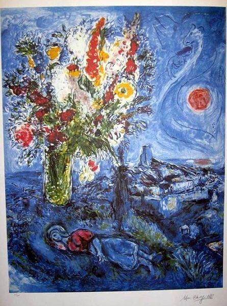 MARC CHAGALL La Dormeuse Aux Fleurs Print, Limited Edit