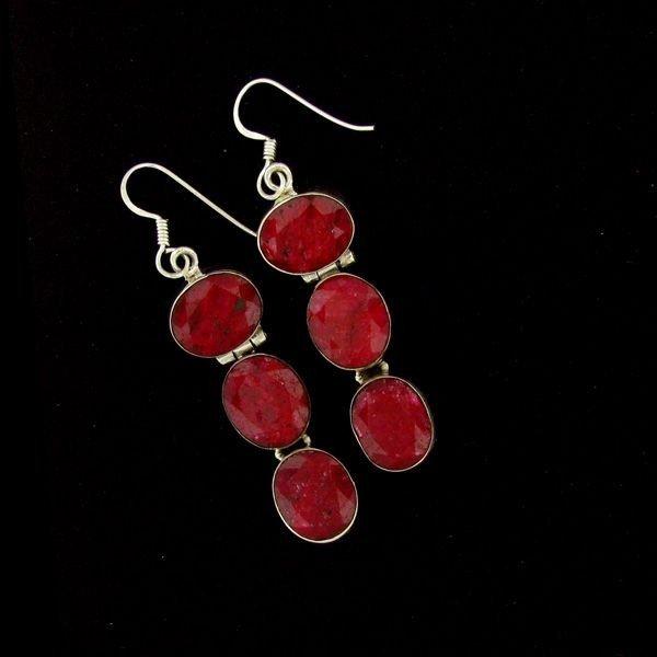 APP: 28.9k 34.70CT Ruby & Sterling Silver Earrings
