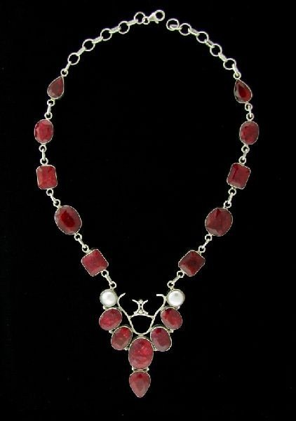APP: 176.8k 192.91CT Ruby & Sterling Silver Necklace