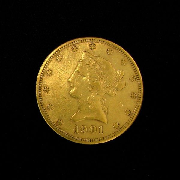 11: 1901-S $10 U.S. Liberty Head Gold Coin-Investment