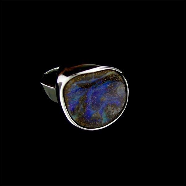 19: APP: 10.8k Natural Boulder Opal Sterling Silver Rin