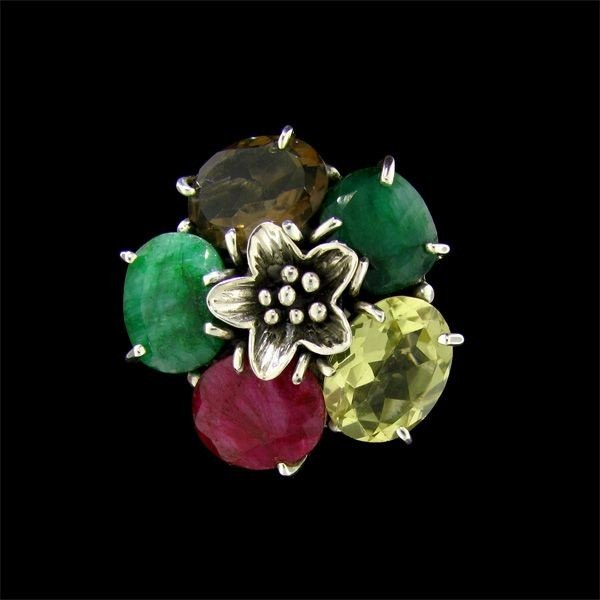 APP: 19.1k 39.83CT Mixed Quartz, Emerald, & Ruby Sterli