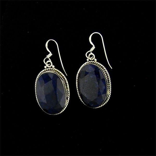 APP: 10.9k 27.61CT Sapphire & Sterling Silver Earrings