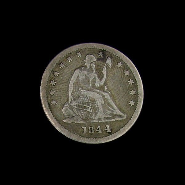 1844 Seated Liberty Quarter Dollar Coin - Investment