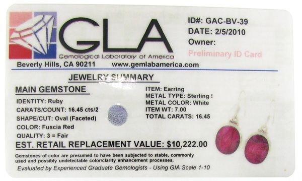 APP: 10.2k 16.45CT Ruby & Sterling Silver Earrings - 2