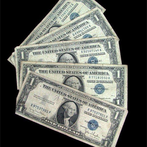 5 Misc U.S. Vintage Bills