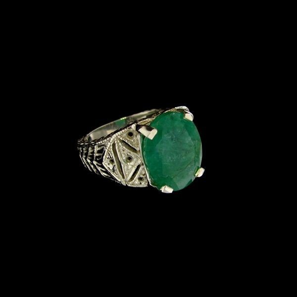 APP: 7.4k 5.44CT Emerald & Sterling Silver Ring