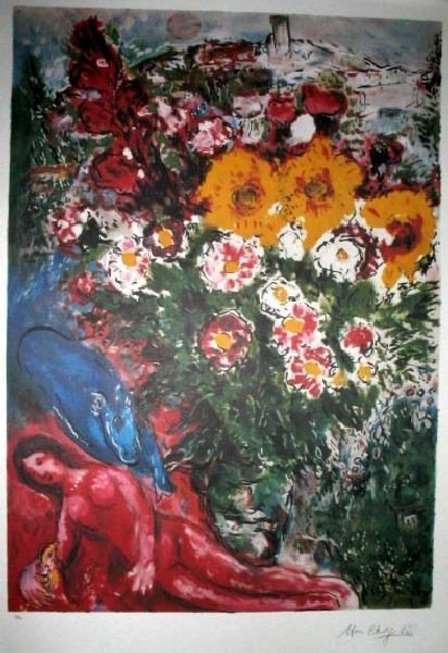 MARC CHAGALL Les Soucis Print 266 of 500, 25'' x 33.5''