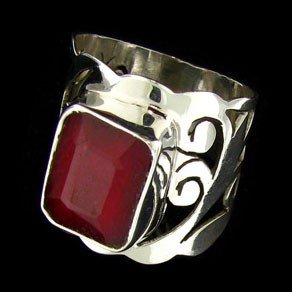 APP: 6.9k 5.85CT Ruby & Sterling Silver Ring