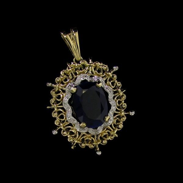 APP: 35.6k 15.38CT 14 kt. Gold, Sapphire & Diamond Pend