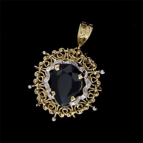 APP: 25.5k 13.92CT 14 kt. Gold, Sapphire & Diamond Pend