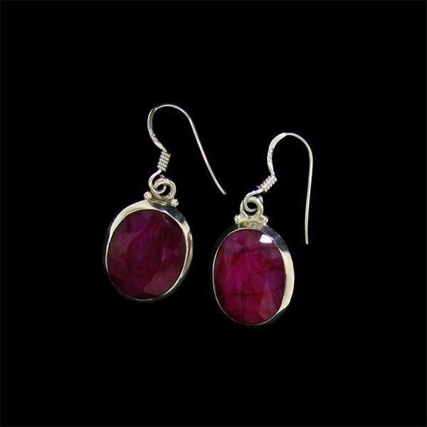 APP: 10.2k 16.45CT Ruby & Sterling Silver Earrings