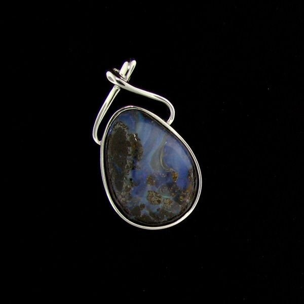 APP: 10k 19CT Boulder Opal & Sterling Silver Pendant