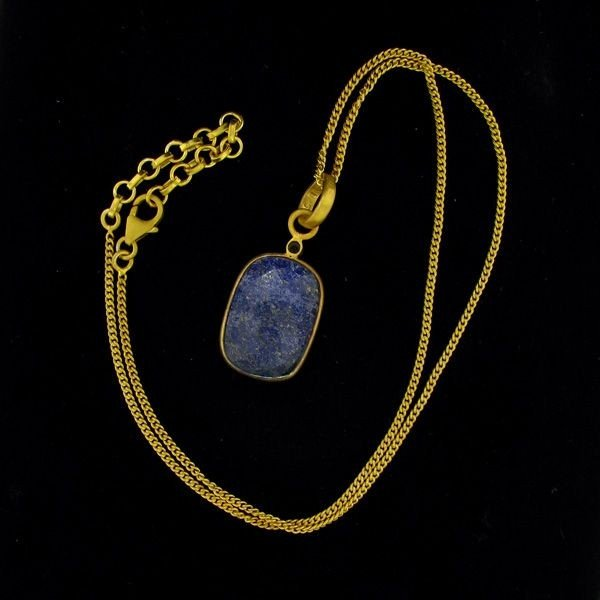 APP:18k 28CT 24kt Gold Overlay Sapphire Pendant w/chain