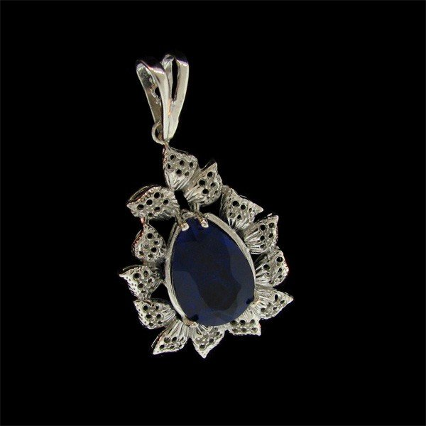 APP: 22.3k 14.51CT Sapphire and Sterling Silver Pendant