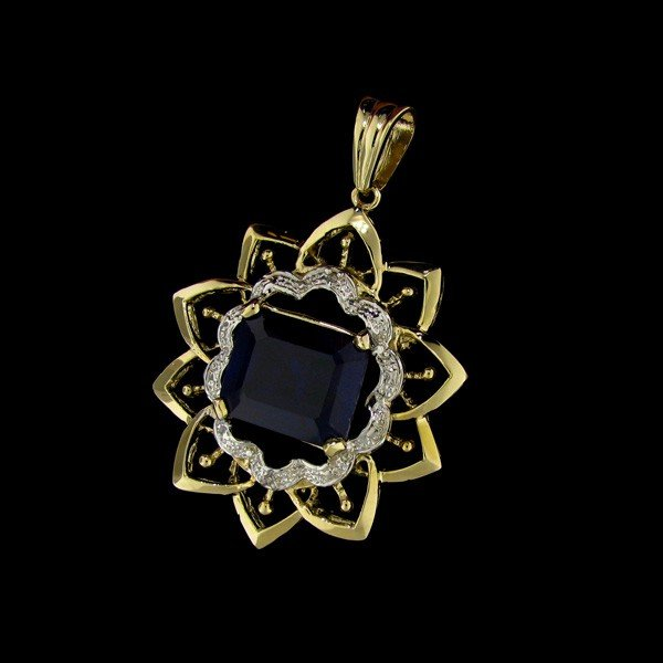 APP:21k 12CT 14 kt. Gold, Sapphire and Diamond Pendant