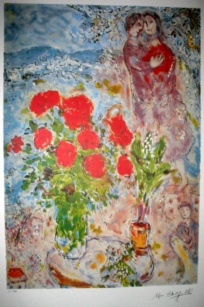 MARC CHAGALL Red Bouquet with Lovers Print, Limited