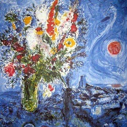 MARC CHAGALL La Dormeuse Aux Fleurs Print, Limited
