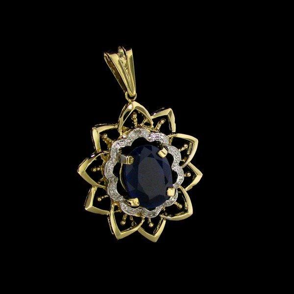 APP: 32k 13CT 14 kt. Gold, Sapphire & Diamond Pendant