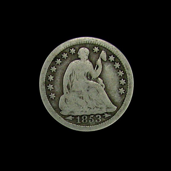 1853 Seated Liberty Half Dime Coin - Investment