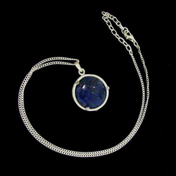 APP:23k 28CT Sapphire & Sterling Silver Pendant w/chain