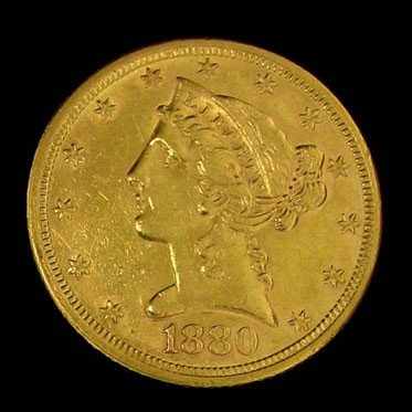 1880 U.S. Gold Liberty Coronet $5 Coin - Investment