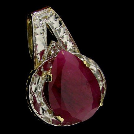 APP: 23.6k 23.42CT 14 kt. Gold, Ruby & Diamond Pendant