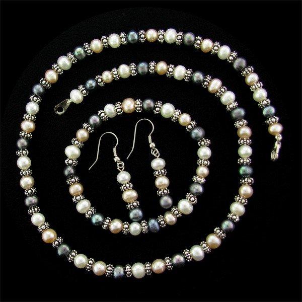 Pearl & Black Pearl Necklace, Earrings, & Braclet Set