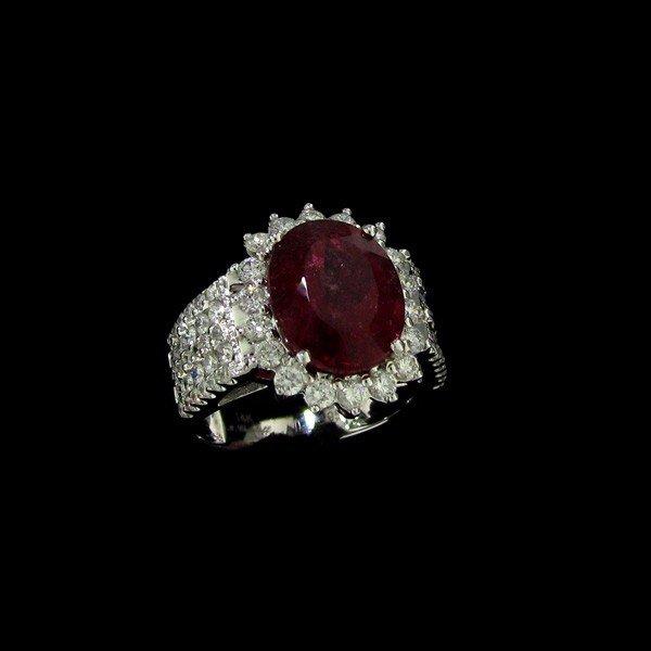 APP:24k 14kt W Gold, 5CT Pink Tourmaline & Diamond Ring