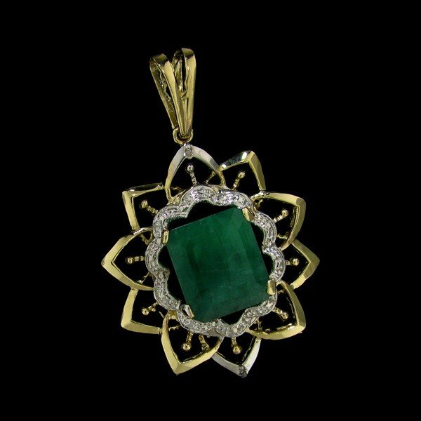 APP: 29k 13.22CT 14 kt. Gold, Emerald & Diamond Pendant