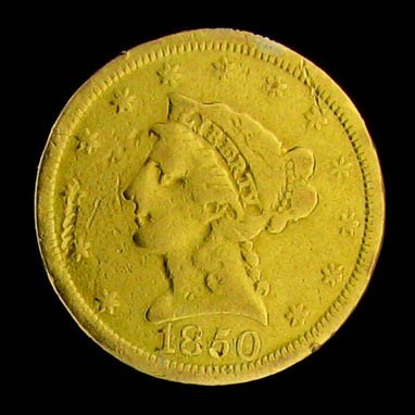1850 U.S. Gold Coronet $2.50 Coin - Investment
