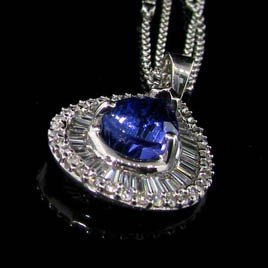 APP:35k 14kt W Gold 3CT Tanzanite & Diamond Necklace